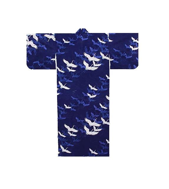 Yukata cigogne bleu