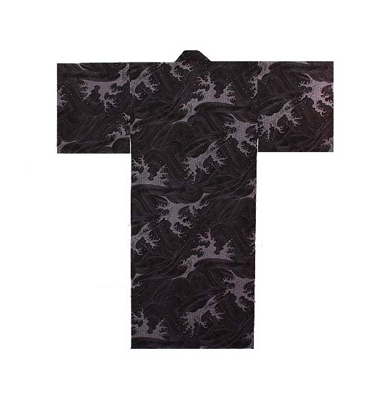 Yukata nami noir